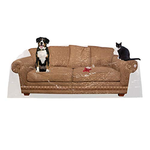 Houseables Couch Covers For Dogs, Cat Scratch Deterrent, 96'W x 42'H x 40'D, 1 Pk, Clear, Vinyl, Sofa Protector, Waterproof Shield, Furniture Protectors, Plastic Slipcovers, Dog, Pet, Cats Pee, Moving