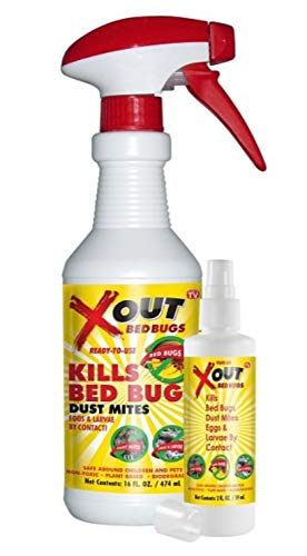 Xout Anti Bed Bug Spray, Kills Bed Bugs and Dust Mites, Eggs and Larva on Contact, Safe Around Children and Pets, Kit
