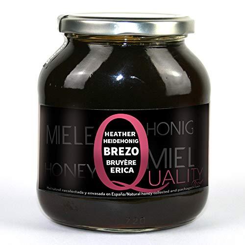Miel d'abeille pur 100%. Miel de Bruyère brut. 1 Kg. Produit en Espagne. Non pasteurisé et non chauffé. Artisan de haute qualité. Bocal en verre. Grande variété de saveurs exquises.