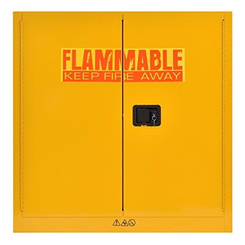 "Sandusky Lee SC300F Yellow Steel Safety Cabinet for Flammable Liquids, 1 Shelf, 2 Door Manual Close, 30 Gallon Capacity, 44""Height, 43""Width, 18""Depth"