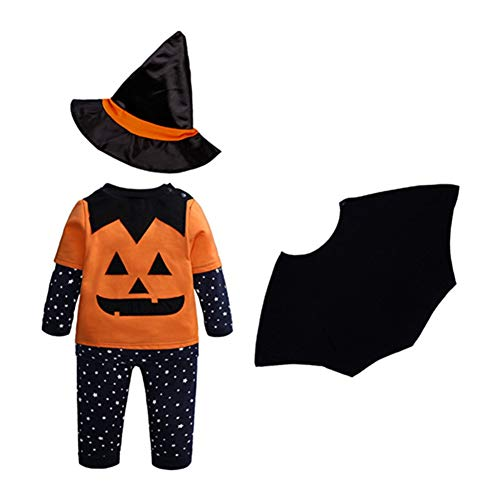 ZXYSHOP 4psc Ropa Infantil de Halloween, otoño e Invierno bebé Bruja Calabaza pantalón de Manga Larga Conjunto de Capa de Sombrero,110