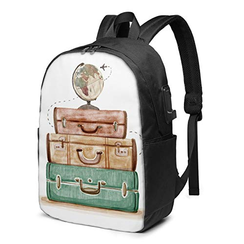 World Traveler Retro Laptop Backpack Water Resistant Travel Bag with USB Charging Port