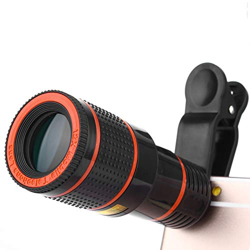 Cell Phone Camera Lens,Universal 12x Clip-On Telephoto Monocular Telescope Mobile Zoom Lens Compatible iPhone Samsung Galaxy Huawei and most Android Smartphone