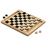 Large 2-in-1 Solid Wood Checkers & Tic-Tac-Toe Board Game Combo Set