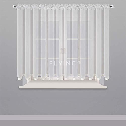 Hermosa cortina lista para ventana de 150 – 300 cm de ancho, cortina de voile con cinta fruncida, color blanco, 150 x 400 cm LB-80 (150 x 600 cm)