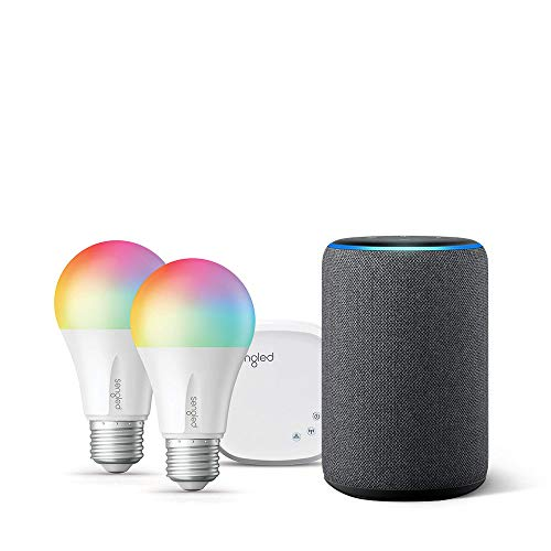 Echo (3rd Gen) Charcoal Bundle with Senged 2-pack smart bulb color starter kit
