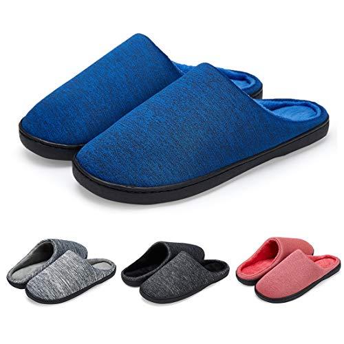 LK LEKUNI Hausschuhe Herren Damen Pantoffeln Filzpantoffeln Memory Foam rutschfest Puschen Plüsch Wasserdicht Bequem Blau 42