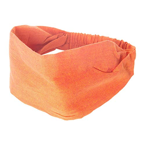 KUNST UND MAGIE unisex Boho Kopfband Stirnband one size unifarben Haarband, Farbe:Orange
