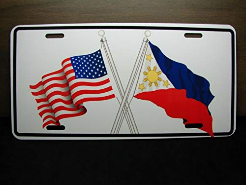Yilooom Waving Philippines American Cross Flag Metal Car License Plate Filipino Flag Auto Car Novelty Accessories License Plate Art