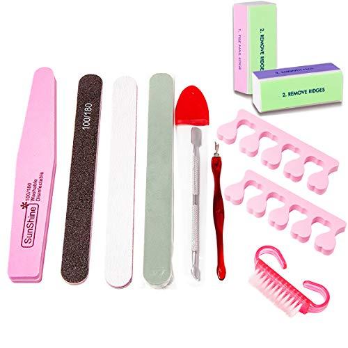 Limas de Uñas Profesionales, Set Manicura 11 en 1 Kit de Manicura y Pedicura Kit de Manicura Para SalóN y Uso DoméStico Para UñAs Naturales UñAs de Gel Color Aleatorio