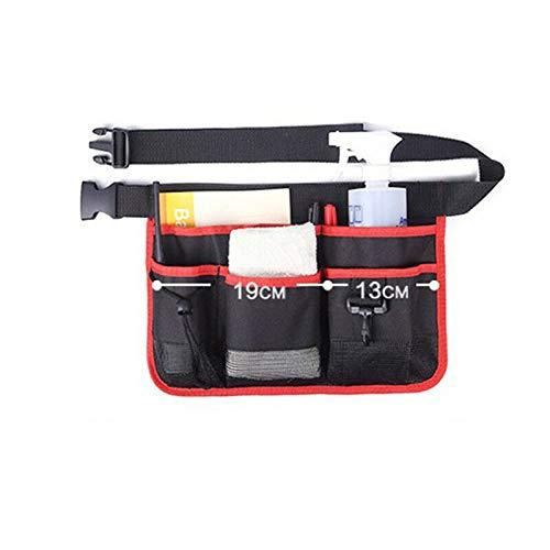 1 x Cinturón portaherramientas de tela Oxford, bolsa de herramientas con múltiples bolsillos, cinturón ajustable, para jardín, patio, granja y almacén, rojo y negro, 34 x 23 cm