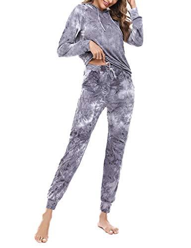 Akalnny Chándal Conjunto Mujer de Tie-Dye Informal Sudadera de Manga Larga con Capucha + Pantalones de Cintura Alta Trajes(Gris,XL)