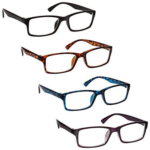 L'azienda Occhiali Da Lettura Nero Marrone Blu Porpora Lettori Valore 4 Pacco Uomo Donna UVR4092MIX +1,50