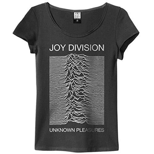 Amplified Joy Division Unknown Pleasures - Maglietta da ragazza, colore: carbone grigio. XL
