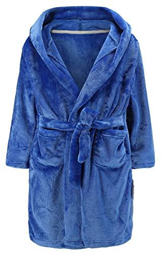 Boys Plush Fleece Animal Character Hooded Robe (Toddler/Little Boys/Big Boys) Pure Blue 9-10 Years