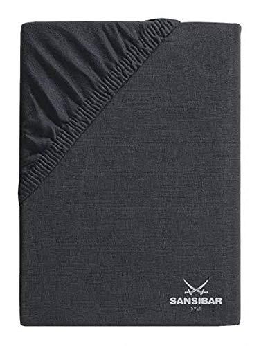 Sansibar Spannbetttuch Spannbettlaken Säbel Druck - Jersey Uni ca. 90/100 x 190/200 cm Anthrazit