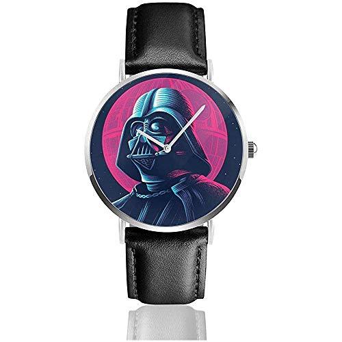 Darth-Vader Unisex Relojes de Pulsera de Acero Inoxidable Plateados Simples para Hombres Mujeres con Correa de Reloj de Cuero de la Hebilla Regalos