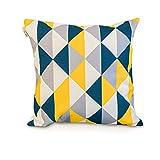 Moutarde / Noir / Gris Triangle Géométrique / Scandinave Coton Coton Housse de coussin / oreiller 18 x 18