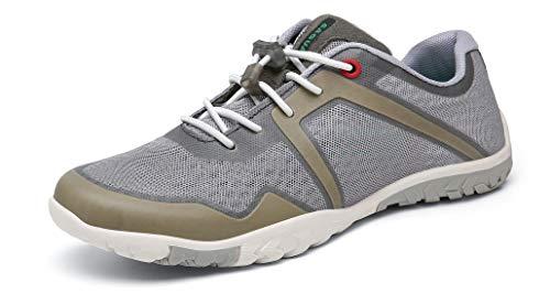 SAGUARO Herren Damen Barfußschuhe Traillaufschuhe Leicht Atmungsaktiv Straßenlaufschuhe Minimalschuhe für Fitness Training Walking Laufen Wander, 069 Grau 46 EU