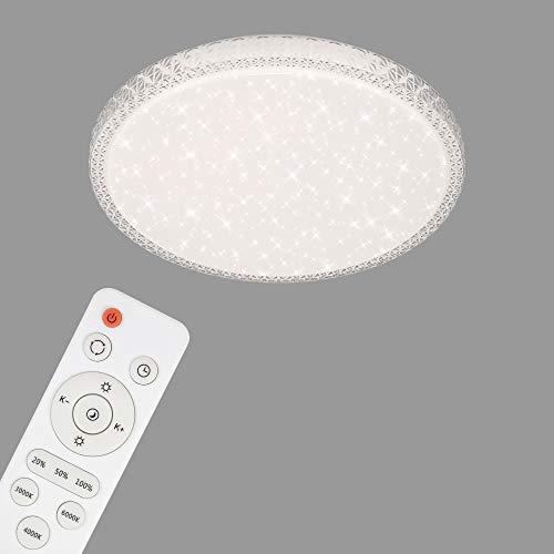 Briloner Leuchten-LED Deckenleuchte, Deckenlampe mit Sternendekor und transparenten Kristallen, dimmbar, inkl. Fernbedienung, Farbtemperatursteuerung, Nachtlicht,24 Watt,Weiß-Transparent, Ø39,3cm