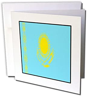3dRose 8 x 8 x 0.25 Inches Photo of Kazakhstan Flag Button Greeting Cards, Set of 12 (gc_80986_2)