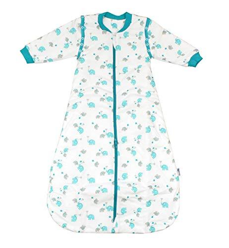 Slumbersac - Saco de dormir para bebé (forro cálido, 3,5 tog, con mangas extraíbles) Elefanten Unisex Talla:90 cm