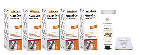 Nasenduo Nasenspray Ratiopharm 5 x 10 ml Sparset inkl. einer pflegenden Handcreme ODER Handseife von Pharma Nature