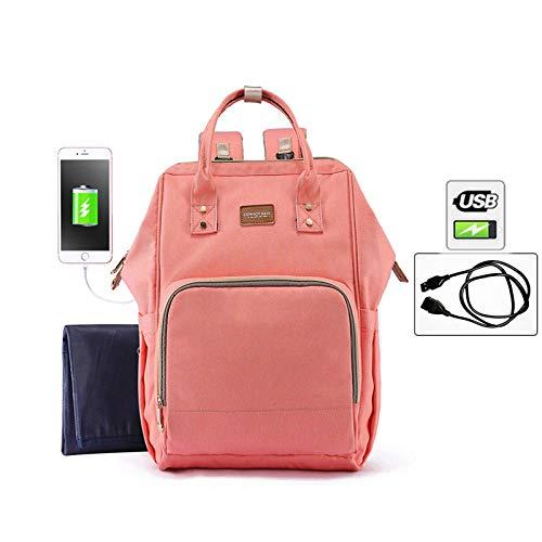 qiqiu Wickelrucksack für Mama Multifunktionale Babytasche mit großer Kapazität, wasserdicht, Windelkissen, USB-Lade-Angel-Pulver Baby Wickelrucksack Wickeltasche