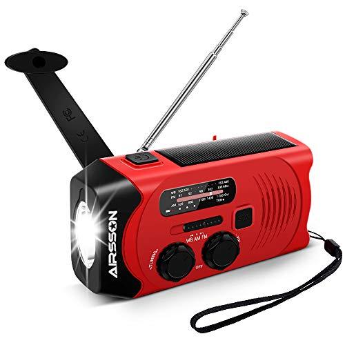 Outdoor Solar Radio, Multifunktion Tragbares Outdoor Radio Kurbelradio für Notfälle,mit AM/FM Wetter Radio, mit LED Taschenlampe/mit 2000mAh Eingebaute Batterie Power Bank, Notfall SOS Alarm