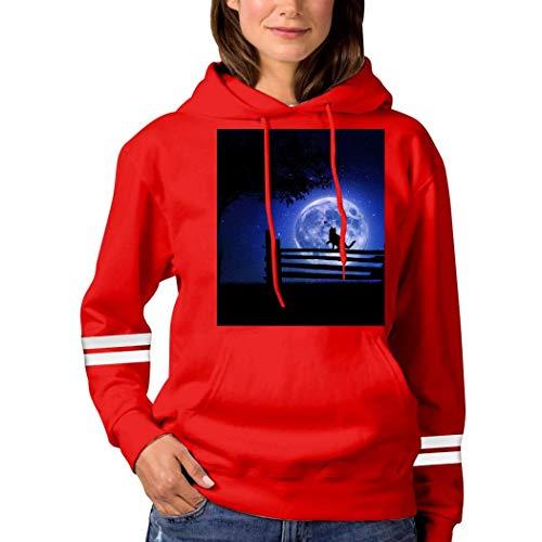Cat in The Moonlight Sweatshirt 3D Print Hoode Sweatshirts Funny Pullover Tops Fall Winter for Women Red L