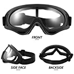 Frienda 4 Pairs Protective Goggles Safety Glasses Eyewear for Teens Game Battle Hiking and Sand Prevention (Black, White) Front Side Face Backside