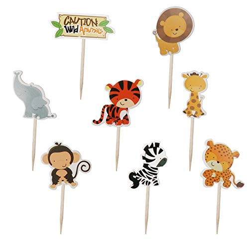 NSGJUYT 24 pcs Dinosaur Theme Cake Toppers Dino Party Cupcake Wrappers Happy Birthday Party Decorations Kids Favors Cake Flag Baby Shower (Color : Olive)