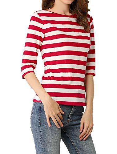 Allegra K Camiseta De Rayas para Mujer Mangas De Media Longitud Color...