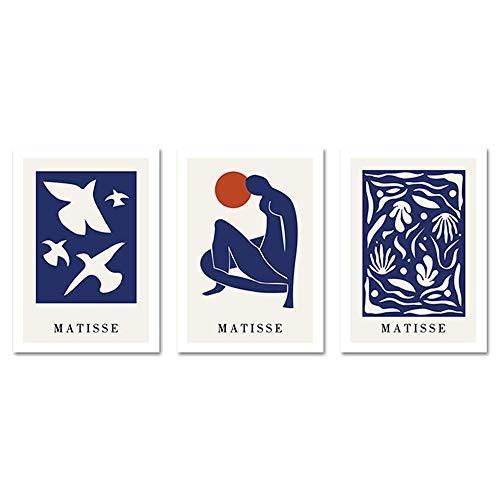 SueñOs Salon De Decoracion Marco De La Azul Pintura Abstracto Moderno Estilo Pared Cuadro Matisse Arte Imprimir Silueta Salon Inicio Poster 40x60cmx3 No Cartel
