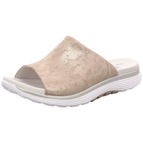 Gabor Comfort Damen Pantoletten 26910-95 Rollingsoft Muschel (beige) - Pantolette - Damenschuhe Pantolette/Zehentrenner, Beige, Leder (Caruso metallic) Comfort beige 700262