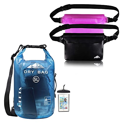 HEETA Waterproof Dry Bag for Women Men Transparent Blue 5L Bundle with 2-Pack Waterproof Pouch with Waist Strap