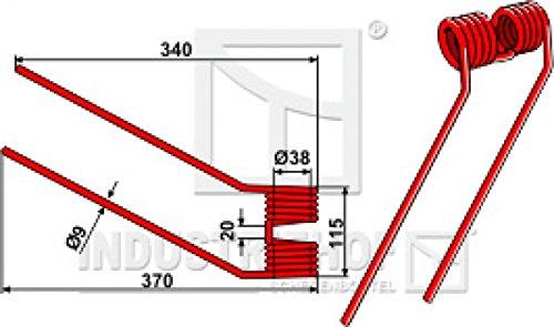 Kreiselheuerzinken 340-115-9 mm Ausführung rechts für Claas - Farbe Rot/Best.-Nr. 15-CLA-13