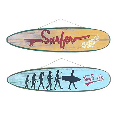 CAPRILO. Set de 2 Adornos Pared Decorativos de Madera Tablas Surf Colgantes. Cuadros y Apliques. Decoración Hogar Marinera. Muebles Auxiliares. Regalos Originales. 80 x 0,90 x 20 cm.