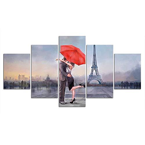 duyou Paraguas rojo pareja Torre Eiffel 5 Piezas cuadro salon cuadros decoracion modernos Impresión Cuadro En Lienzo Composición De murales Moderno HD Póster para Pared Decoración,150X80cm-Con marco