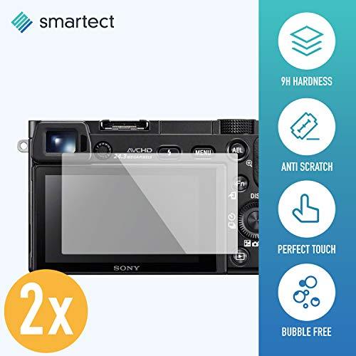 smartect Panzerglas kompatibel mit Sony Alpha 6300 [2 Stück] - Displayschutz mit 9H Härte - Blasenfreie Schutzfolie - Anti Fingerprint Panzerglasfolie