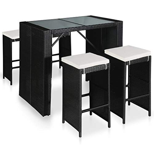 Tidyard Set Arredo Giardino/Set Tavolino Bar/Set Mobili Bistro, Tavolo con 4 Sedie e 4 Cuscini, PE/Vetro/Acciaio