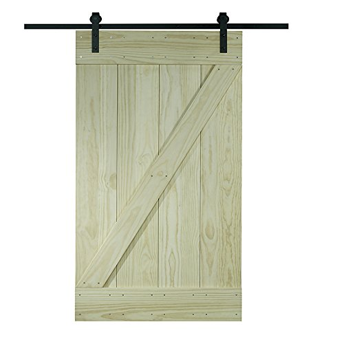 LTL Home Products 8BDSW3680KDZ Pinecroft Solid Wood Ready to Assemble Interior Barn Door Kit, 36' x 80', Unfinished Pine