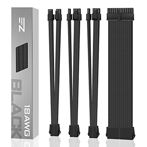 EZDIY-FAB Personalizzato PSU Estensione Cavo di Prolunga Manicotto MOD GPU PC Alimentatore per PC in Nylon Morbido Intrecciato con Kit Pettine 24PIN/8PIN a 6+2Pin/ 8PIN a 4+4PIN-300MM Nero