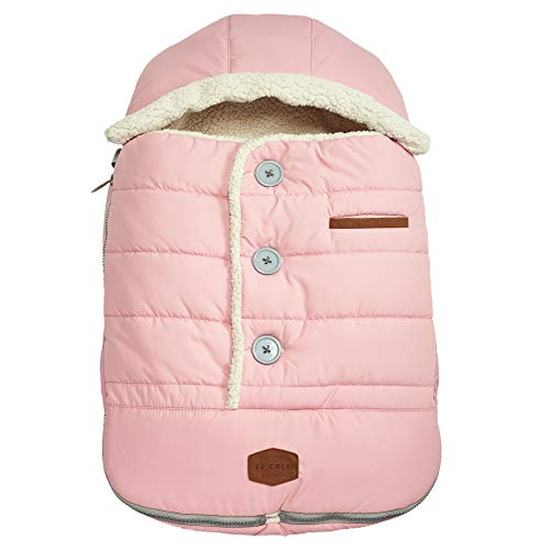 JJ Cole - Urban Bundleme, Canopy Style Bunting Bag to Protect Baby from Cold and Winter Weather in Car Seats and Strollers, Blush Pink, Infant