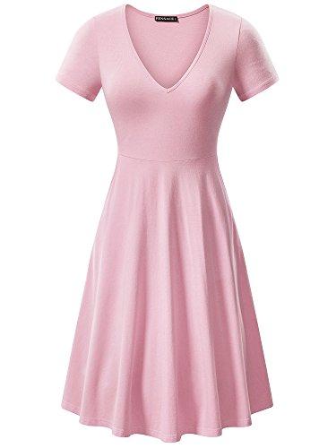 FENSACE Womens Light Summer Pink Midi Dress Medium