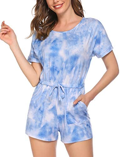 Ekouaer Pajamas Romper Women Tie Dye Jumpsuit Short Sleeve One Piece Sleepwear Soft Loungewear product image