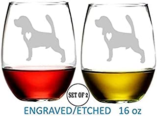 Beagle Stemless Wine Glasses Etched Engraved Perfect Fun Handmade Gifts for Everyone Set of 2