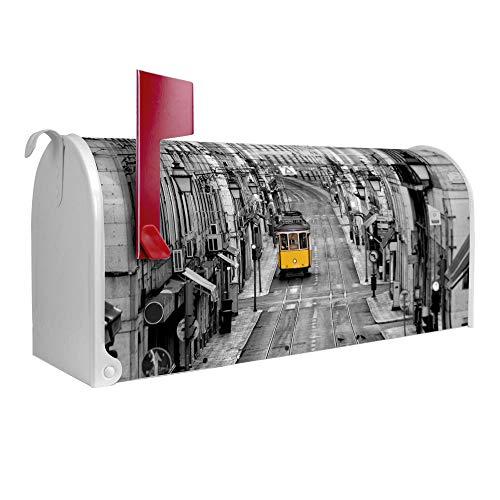 BANJADO US Mailbox | Amerikanischer Briefkasten 51x22x17cm | Letterbox Stahl weiß | mit Motiv Lissabon