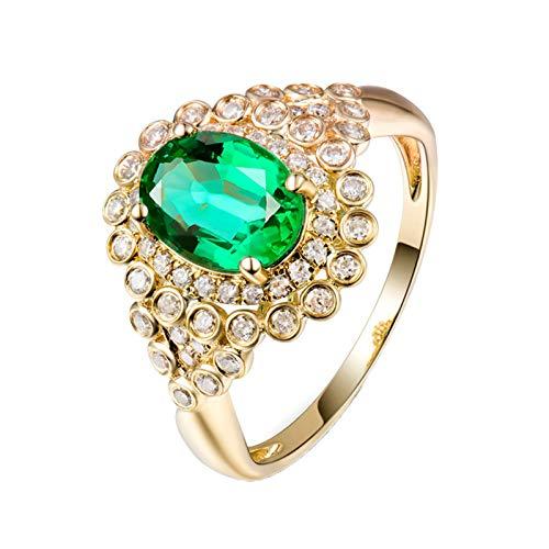 Daesar Anillos de Oro Amarillo Mujer 18 K,Flor Oval Esmeralda Verde 1.28ct Diamante 0.36ct,Oro Verde Talla 22