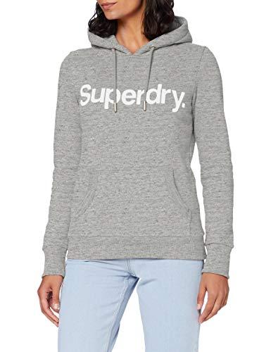 Superdry Womens CL Flock Hood Hooded Sweatshirt, Soft Grey Marl, M (Herstellergröße:12)